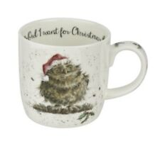 Royal Worcester Wrendale Designs 2018 Christmas mugs Owl I want for Xmas mug