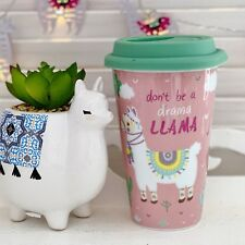 PINK DONT BE A DRAMA LLAMA CERAMIC TRAVEL MUG THERMAL TEA COFFEE CUP FLASK GIFT