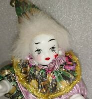 """Vintage Porcelain Clown Head Hands Feet Soft Body 10"""" Hand Painted W/ Stand"""