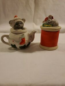 Vintage House Of Lloyd Christmas Mouse Candle And Cat Teapot Bisque Porcelain