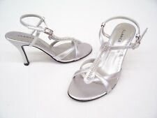 CLARICE SILVER SATIN LADIES FORMAL DRESS HEELS SHOES WEDDING PARTY DEWEY 6.5