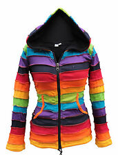 Rainbow Hippy Hoody Fleece Lined Pixie Hood Festival Outer Stripe Patched Jumper