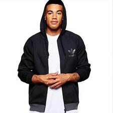 adidas Originals SPO Trefoil Hoodies Mens Full Zip Sweatshirt Track Top Hoody Black XL