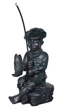 Bronze Colour Boy Sitting Fishing Garden Pond Outdoor Indoor Statue Ornament