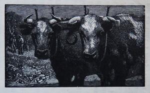 SIR LIONEL LINDSAY (1874-1961) RARE Woodcut Yoke Mates Norman Lindsay 1923