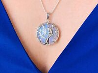 Beautiful Opal Tree of Life Bead Owl pendant  Long Snake Silver Chain Necklace