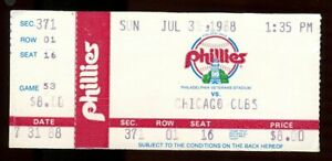 Baseball Ticket 1988 Cubs Phillies 7/31 Greg Maddux vs. Mike Maddux Brother Duel