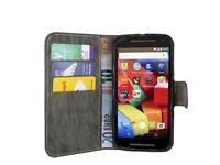 Book-Style Handyhülle Schale für Motorola Moto G (2.Generation) // Anthrazit