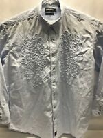 Panhandle Slim Retro Men Embroidery Western Shirt Pearl Snap Sz XXL Light Blue