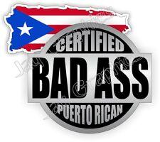 Bad Ass Puerto Rican + Flag Hard Hat Stickers   Welding Helmet Decals   Rico USA