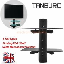 Glass TV Wall Mount Bracket 2 Shelves Shelf For DVD Sky Box Game Console LCD LED