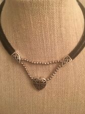 "BRIGHTON ""Heritage Heart"" Silver Tone Heart Pendant/Black Leather Necklace 16"""