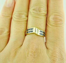 Pre owned 14k Yellow gold Natural Blue Sapphire & Champagne Diamond Ring 0.82 ct