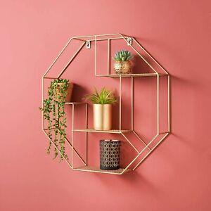 Gold Hexagon Shelf Metal Wire Storage Shelves Decorative Floating Shelf