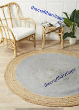 Braided Handwoven Home Decor Natural Bohemian Jute Round Floor Carpet 7 Feet Rug