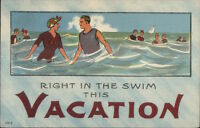 Right in the Swim Vacation Bathing Beauty c1910 Postcard rpx