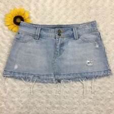 Hollister Womens Jean Mini Skirt Size 5 100% Cotton Light Blue Denim er3480