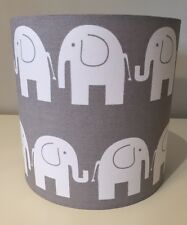 Grey And White Elephant Lampshade Handmade In 40cm Drum, Baby, Nursery