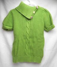 GYMBOREE Girls Lime Green Sweater w/Flower Buttons S (5-6)