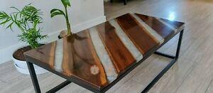 Clear Resin Acacia Wooden Design Sofa Table Handmade Royal Home Furniture Décors