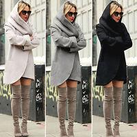 Women Hoodies Wool Long Parka Coat Winter Warm Hooded Wrap Blazer Jacket Outwear