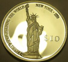 Silver Proof Liberia 2000 $10.00~Statue Of Liberty~Enlightening The World~Fr/Shi