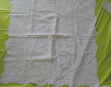 New listing Vintage Embroidered French White Tablecloth Linen 30 x 30 inch antique