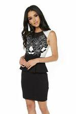 Lipsy Black White Embroidered Peplum Bodycon Dress Size 14 RRP 65.00