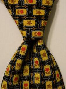 BRIONI Men's 100% Silk Necktie ITALY Luxury Designer Geometric Blue/Yellow EUC