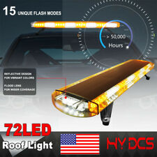 "38"" 72LED Car Emergency Warning Solid Roof Plow Tow Strobe Light Bar Amber White"