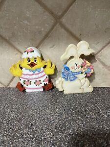 LOT OF2 Easter Spring Decor Hand painted Wooden Bunny & Chick In Egg