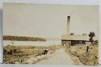 Ely Minnesota RPPC View on Long Lake with Smoke Stack & Barn Photo Postcard O20