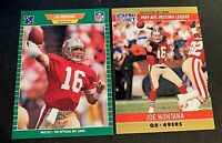 Joe Montana Pro Set Football 1989 #381 and 1990 #8 - 49ers