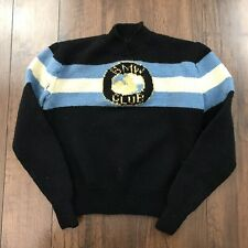 Vintage 70's 80's BMW Blue Black Knit Made Orlon Acrylic Sweater Sz XS Racing