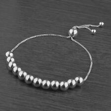 Genuine 925 Sterling Silver Adjustable 6mm Ball Bead Slider Bracelet Chain