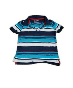 Boys ARIZONA JEANS CO. Short Sleeve Red,White,Blue Striped Polo Shirt Top 4T