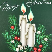 Vintage Art Deco Christmas Greeting Card FRONT ONLY Green Candles Mid Century