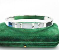 Vintage Sterling Silver Bracelet Mother of pearl Statement Art Deco Bangle #W323