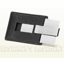 GUCCI black GUCCISSIMA leather Metal Trademark MONEY CLIP holder NIB Authen $250