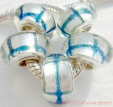 5PCS silver hallmarked Single Core Murano Glass Beads fit Charms Bracelet AOC070
