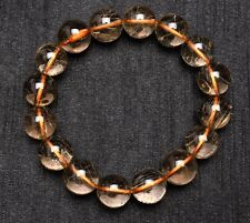 13mm Natural Hair Rutilated Quartz Crystal Round Bead Bracelet
