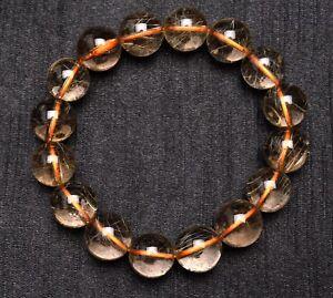 13mm Natural Hair Rutilated Quartz Crystal Round Bead Bracelet