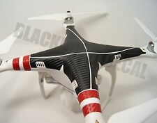 DJI Phantom 3 Carbon Fiber Graphic with RED Arm Strips Wrap Decal Skin P3