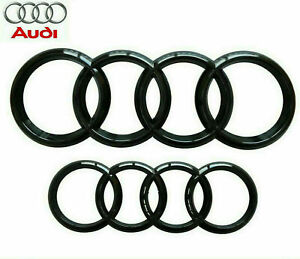 Audi Gloss Black Front Rear Grille Bonnet Badge Rings A1 A3 A4 S3 RS 273mm 193mm