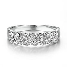 Pave Setting Round 0.5ct Moissanite Solid 14K White Gold Bands Fine Wedding Ring