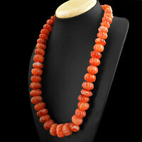 Orange Carnelian 1058.00 Cts Natural 20 Inches Long Round Carved Beads Necklace