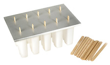 Frozen Ice Pop Maker Fox Run 10 Molds 3 Oz Aluminum Cover Wooden Popsicle Sticks