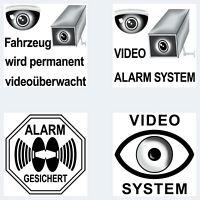 Video Kamera Alarm System 5cm schw Warn Aufkleber Sticker für Außenseite Fenster