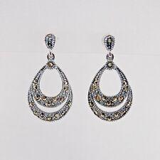 925 Sterling Silver Vintage Style Marcasite Double Loop Teardrop Dangle Earrings