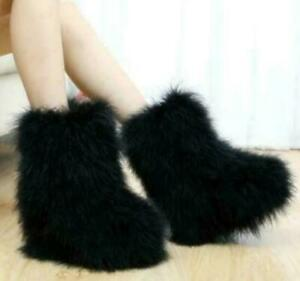 Womens Soft Faux Fur Pull On Warm Furry Ankle Boots Winter Vogue Casual Shoes
